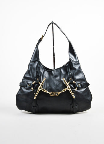 "Black Leather Gucci ""85th Anniversary Bridle Bit Hobo"" Flat Shoulder Bag Frontview"