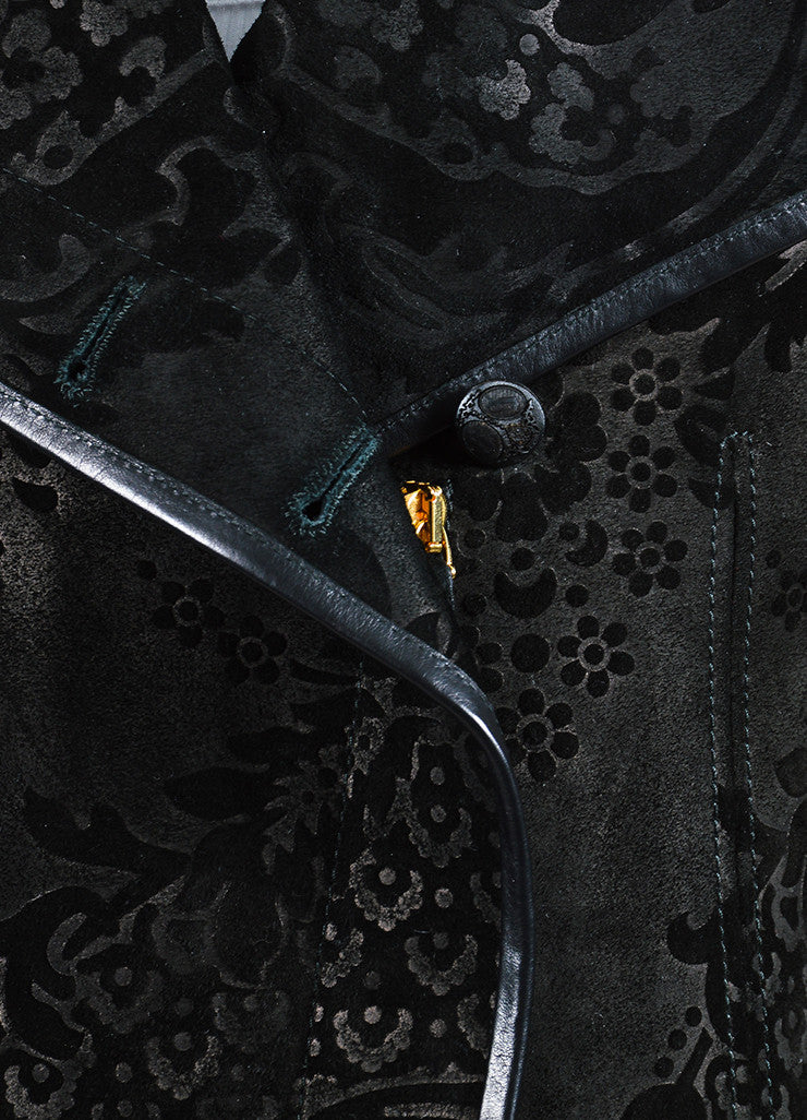 Black Gucci Suede Leather Floral Embossed Long Zip Up Walking Coat Detail