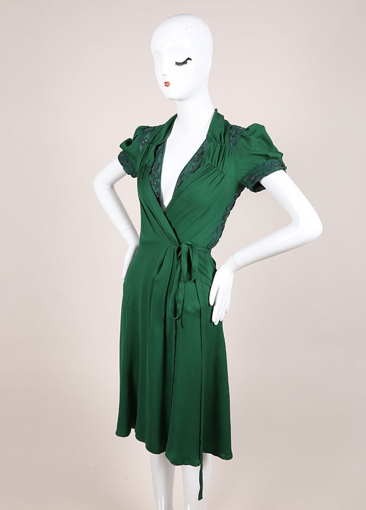 Gucci Green Beaded Short Sleeve Open Back Wrap A-Line Dress Sideview