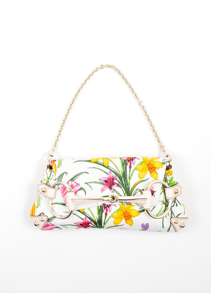 Multicolor and Cream Gucci Flora Collection Horsebit Small Flap Clutch Frontview