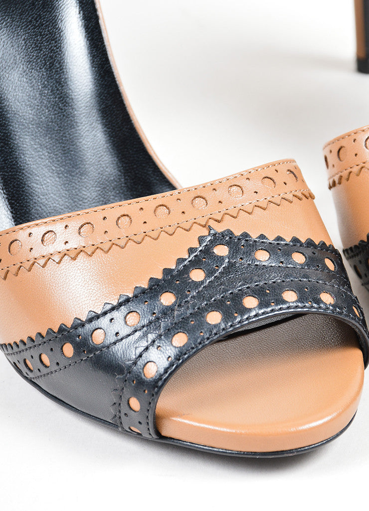 Tan and Black Gucci Leather Brogue Peep Toe Ankle Strap Sandals Detail
