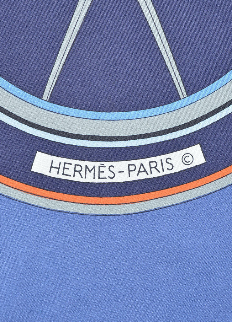 "Hermes Blue Silk Printed ""Washington's Carriage"" 90cm Scarf Brand"