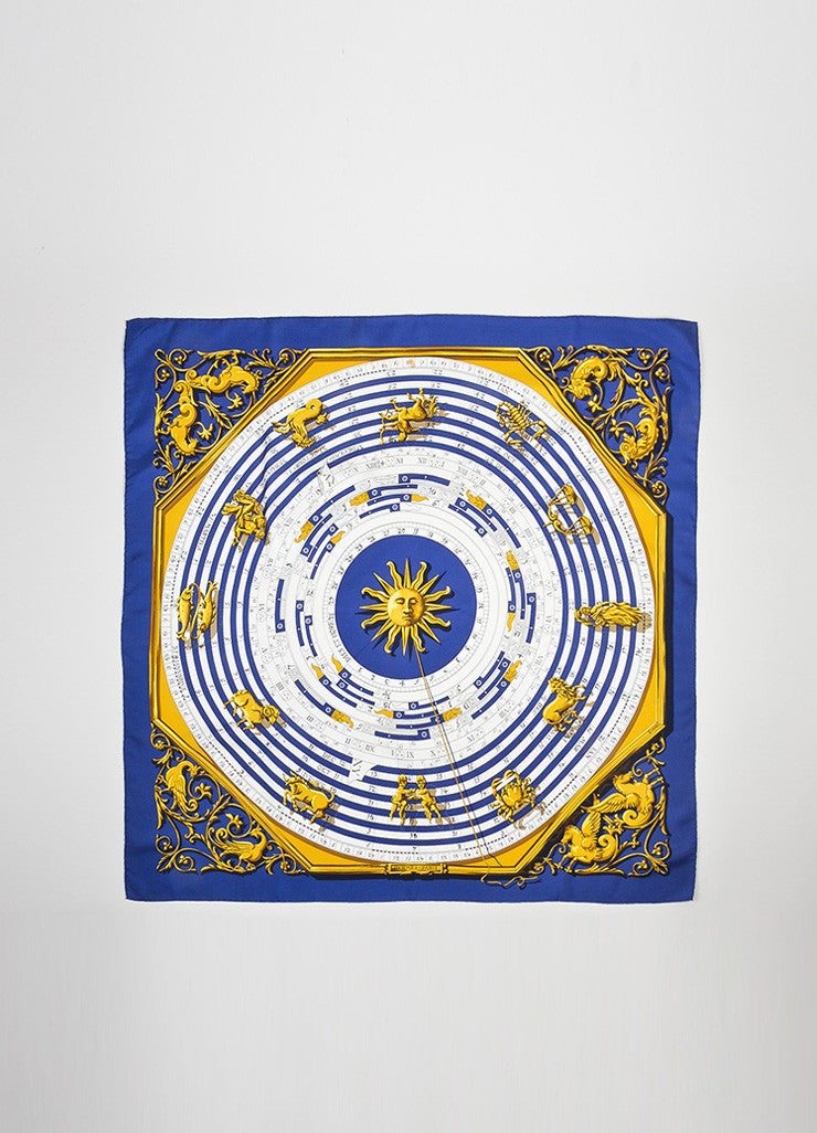 "Navy Blue, White, and Gold Hermes Silk ""Astrologie Dies Et Hore"" Scarf Frontview 2"