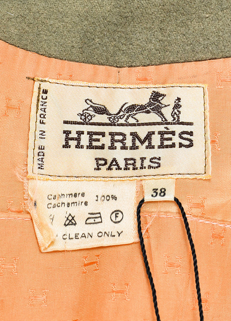 Hermes Olive Green Cashmere Notch Lapel Double Breasted Trench Coat Brand