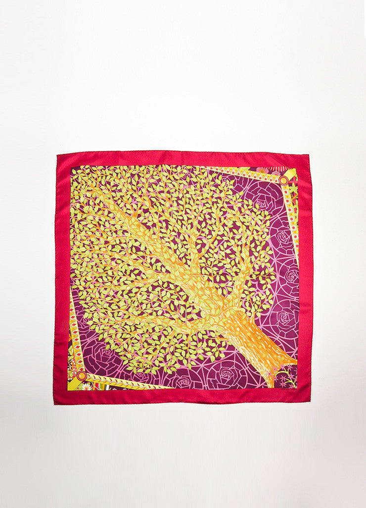 "Multicolor Hermes Silk Floral Tree Motif ""Axis Mundi (Detail)"" Scarf Frontview 2"