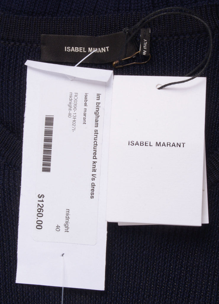 "Isabel Marant New With Tags Navy and Black Wool Knit ""Bingham"" Dress Brand"