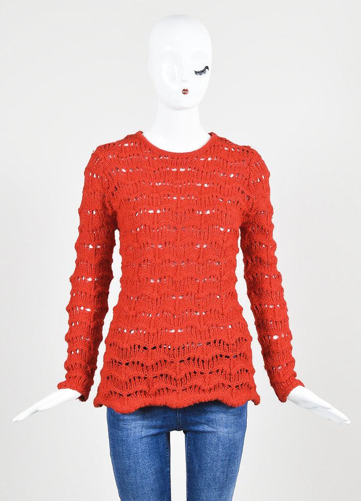 "Red Isabel Marant Crochet Knit ""Guetty"" Sweater Frontview"