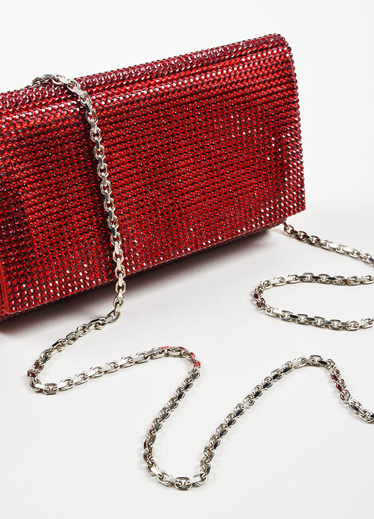 Wine Red Judith Leiber Satin Jewel Encrusted Crossbody Chain Flap Clutch Bag Detail 2