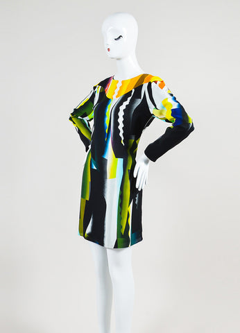 "Kenzo Multicolor Print ""Spray"" Long Sleeve Shift Dress Sideview"