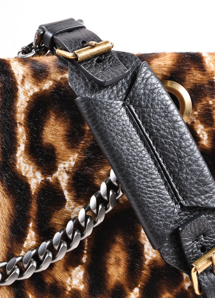 "Lanvin Black Leather Leopard Print Pony Hair Chain Strap ""Happy"" Handbag Detail 2"