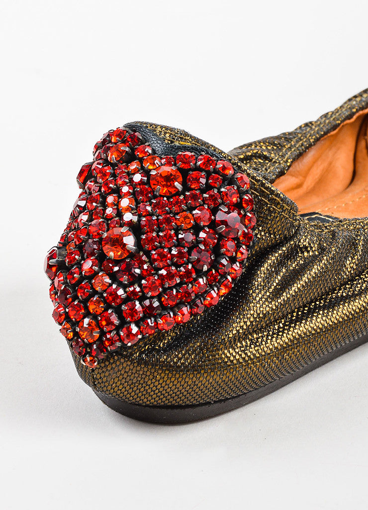 "Lanvin Bronze and Red Rhinestone Heart ""10th Anniversary"" Ballet Flats Detail"
