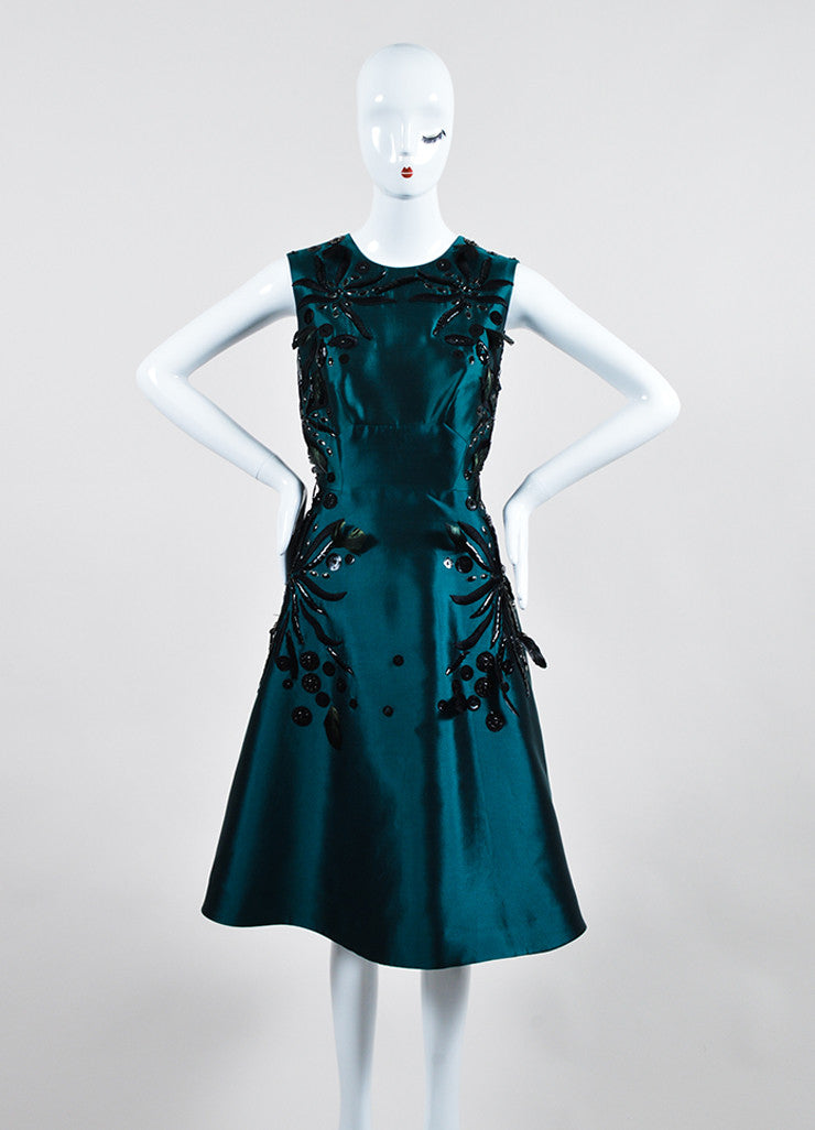 Teal and Black Lela Rose Silk Bead Floral Applique Sleeveless Dress  Frontview