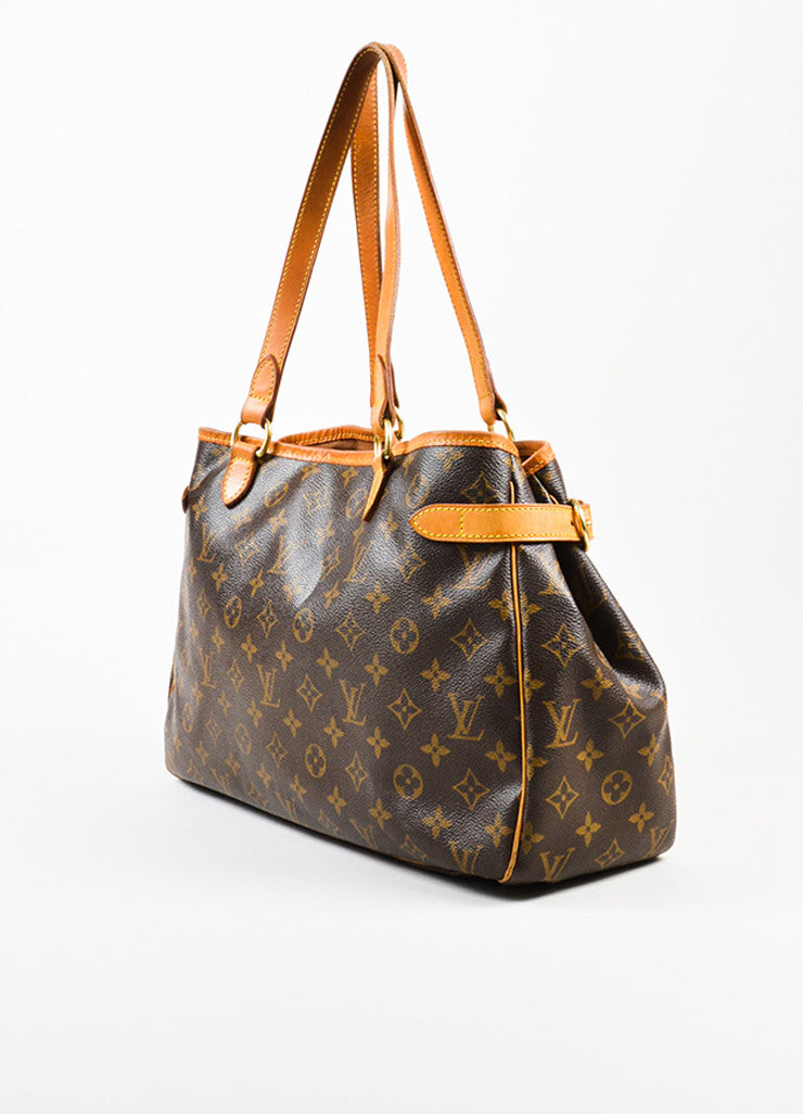 "Louis Vuitton Brown Canvas and Leather Monogram ""Batignolles Horizontal"" Bag Sideview"