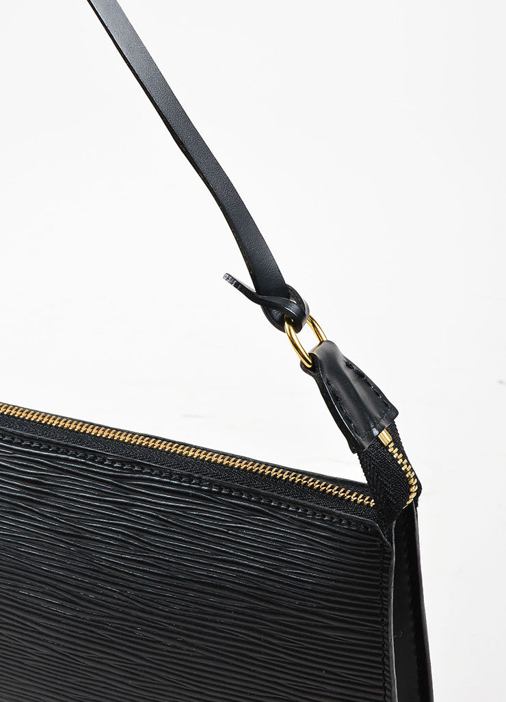 "Louis Vuitton Black Epi Leather ""Pochette Accessoires"" Mini Shoulder Bag Detail 2"