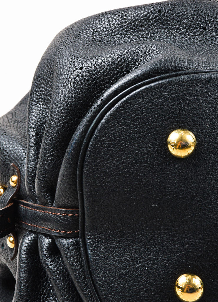 "Louis Vuitton Black ""Mahina"" Leather Monogram ""L"" Hobo Shoulder Bag Detail"