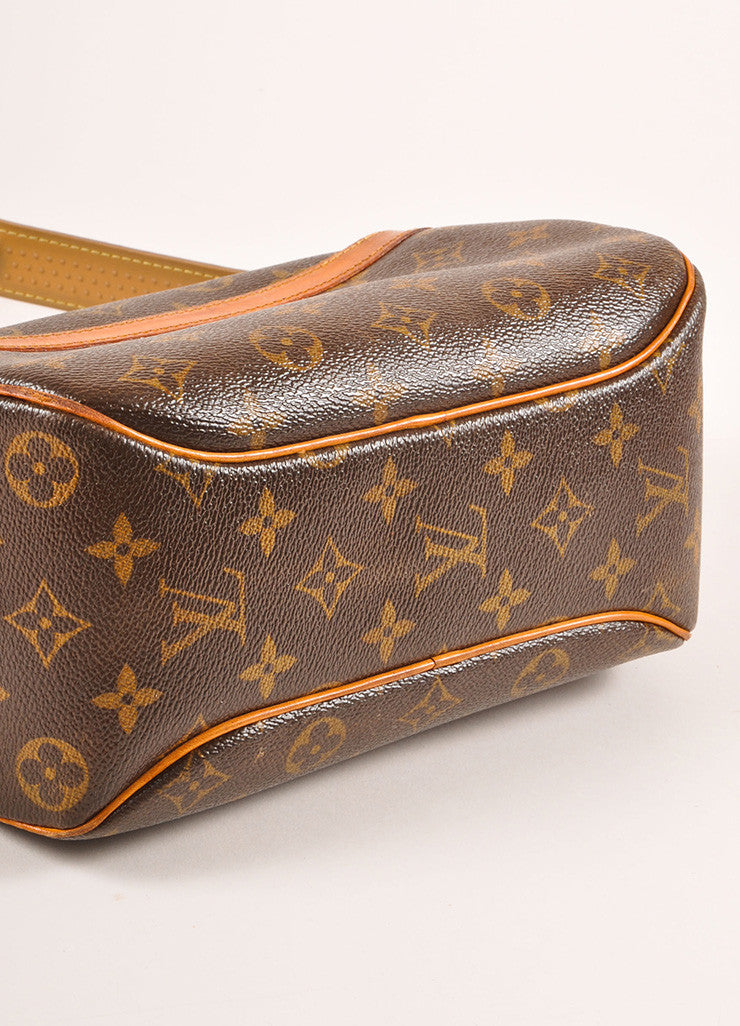 "Louis Vuitton Brown and Tan Coated Canvas Leather Monogram ""Blois"" Crossbody Bag Bottom View"