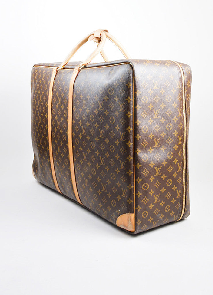 "Brown and Tan Louis Vuitton Monogram Canvas ""Sirius 70"" Suitcase Luggage Sideview"