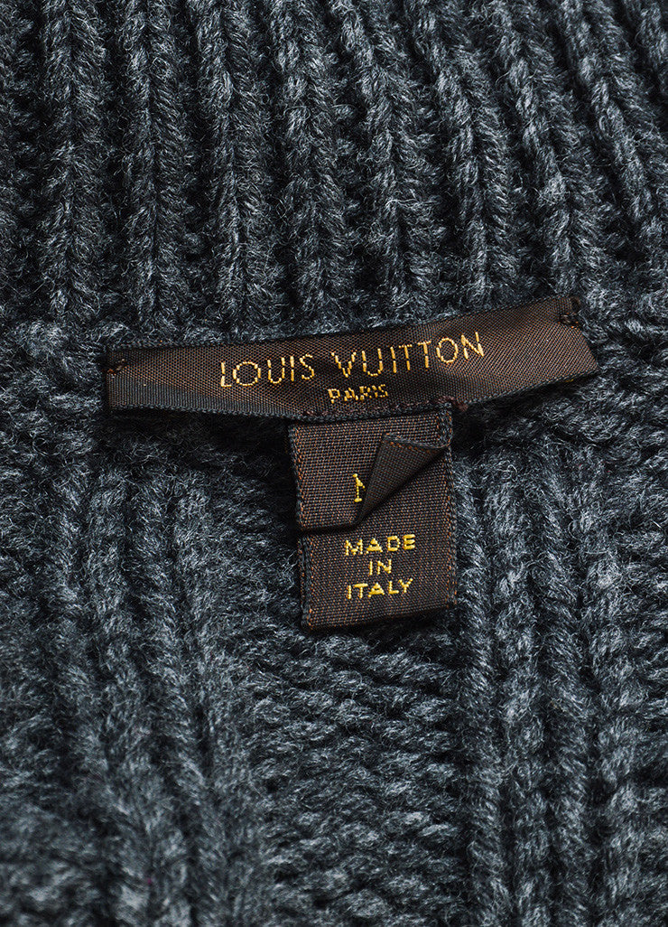 Louis Vuitton Grey Wool Cable Knit Belted Cardigan Brand