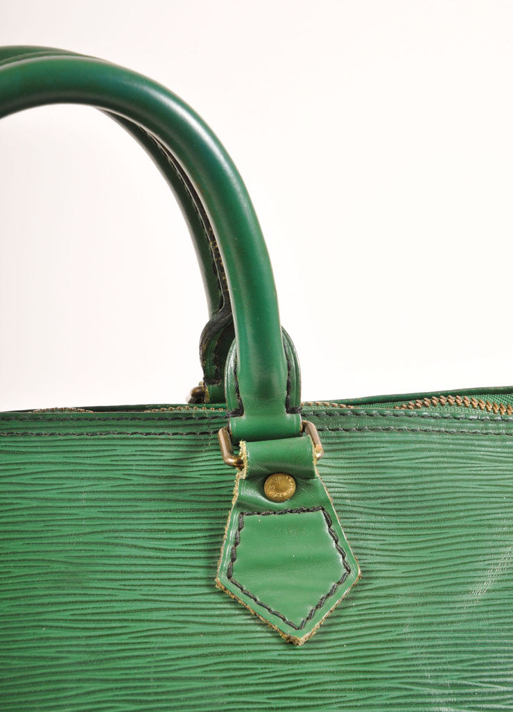 "Louis Vuitton Green Epi Leather ""Speedy 35"" Satchel Handbag Detail 3"