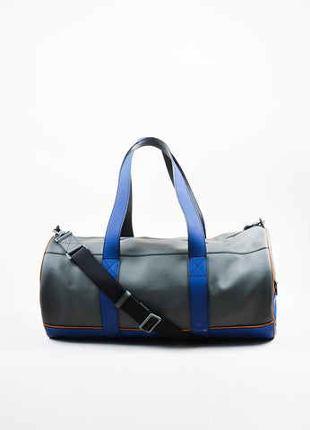 "Men's Bally Grey and Blue Rubberized Leather ""Sirtaki"" Travel Duffel Bag Frontview"