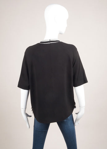 MSGM New With Tags Black and Silver Toned Paillettes Embellished Short Sleeve Top Backview