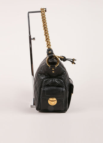 Marc Jacobs Black Quilted Leather Multipocket Chain Hobo Bag Sideview