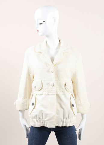 Marc Jacobs Cream Knit Layered Jacket Frontview
