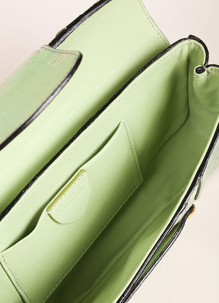 "Marc Jacobs New With Tags Green and Silver Reptile Leather Metallic ""Ruby"" Clutch Bag Interior"