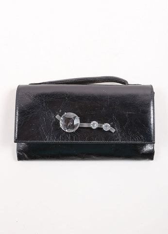 "Miu Miu Black Crackle Leather Jewel ""Shine Cristal"" Flap Wallet Frontview"