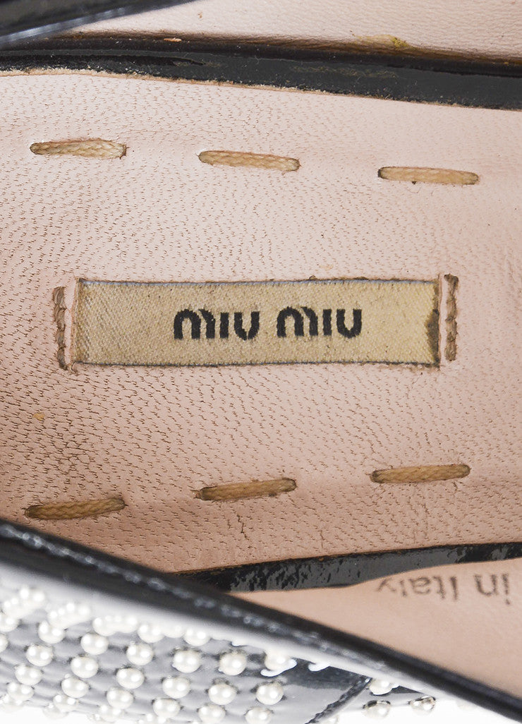 Miu Miu Black Patent Leather and Silver Toned Studded Lace Up Oxfords Brand