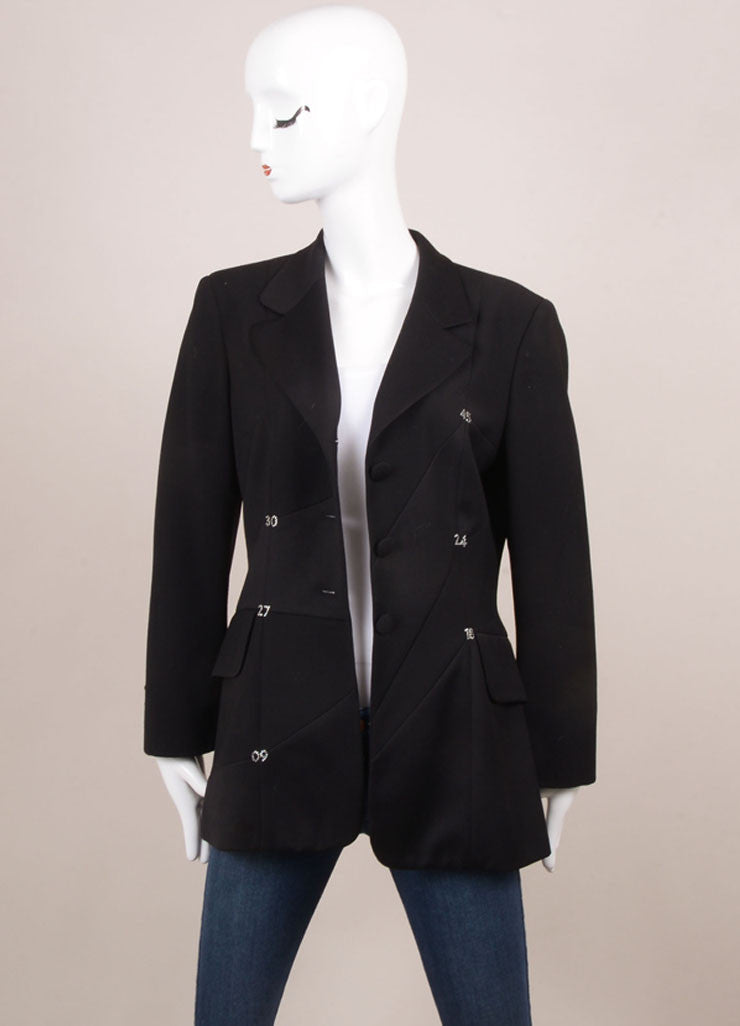 Moschino Cheap & Chic Black Wool Rhinestone Embellished Tailored Blazer Frontview
