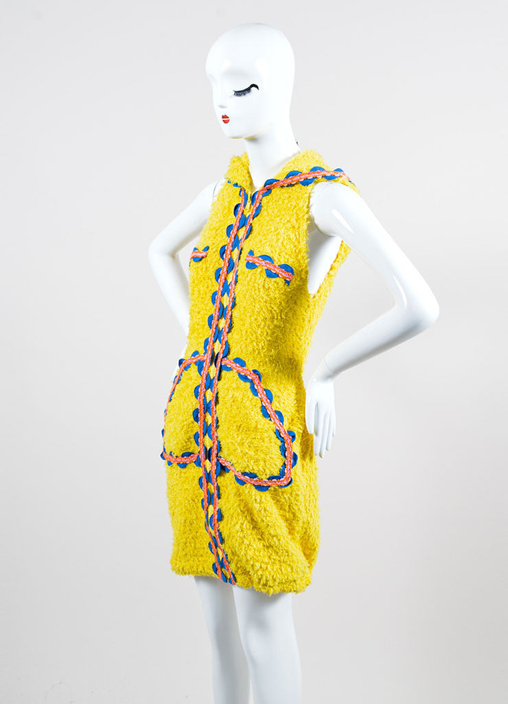 Yellow and Multicolor Moschino Couture! Hooded Ribbon Wave Trim Zip Dress Sideview