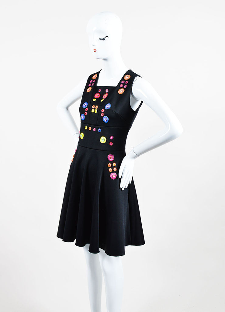 "Black and Multicolor Peter Pilotto Embellished Sleeveless ""Cali"" A-Line Dress Sideview"
