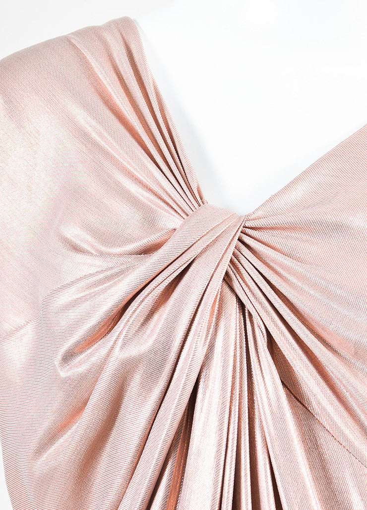 Pink Metallic Ports 1961 Silk Ruched Asymmetrical Sleeve Dress Detail
