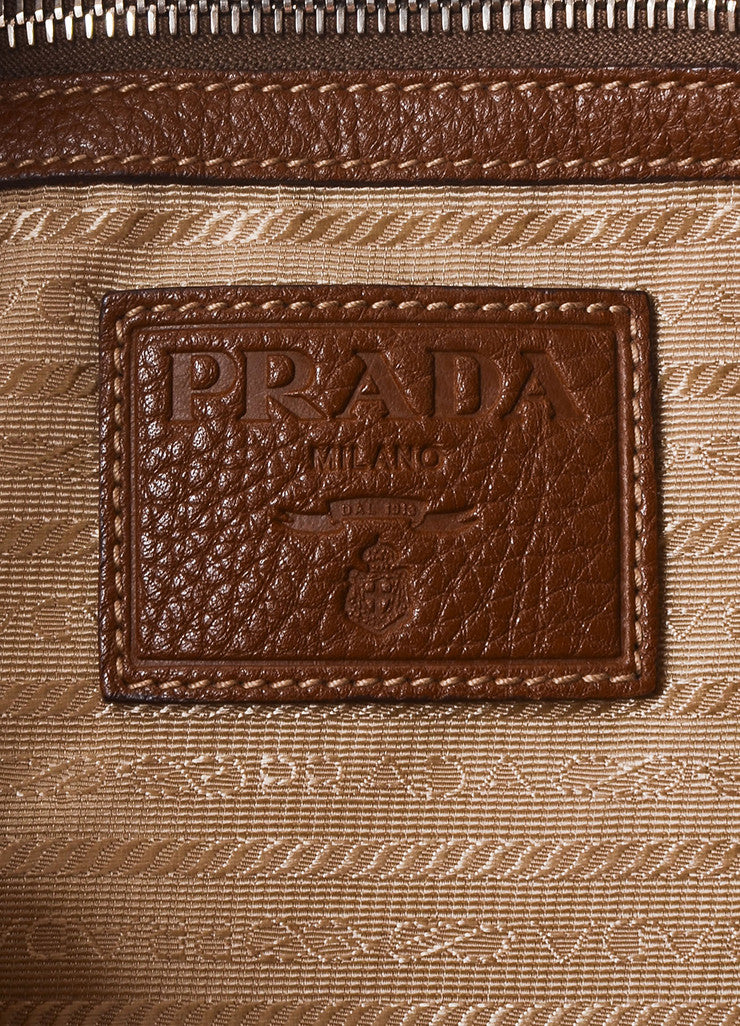 Prada Brown and Beige Canvas Fox Fur Trim Logo Tote Bag Brand