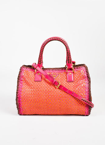 "Prada ""Madras"" ""Mandarin"" Orange and ""Peoni"" Pink Leather Woven Crossbody Tote Frontview"