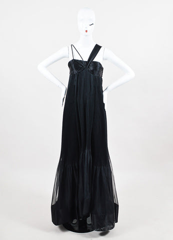 Prada NWT Black Silk Accordion Pleated Empire Waist SL Evening Gown front