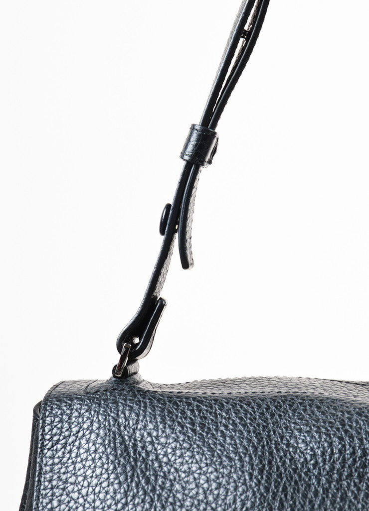 "Proenza Schouler Black Pebbled Leather ""Large Courier"" Flap Bag Detail 2"