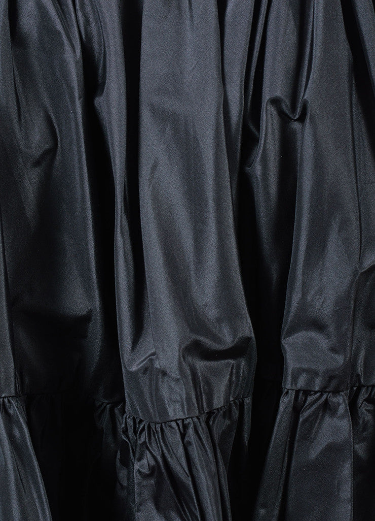 Ralph Lauren Purple Label Black Silk Taffeta Tiered Full Mini Skirt Detail