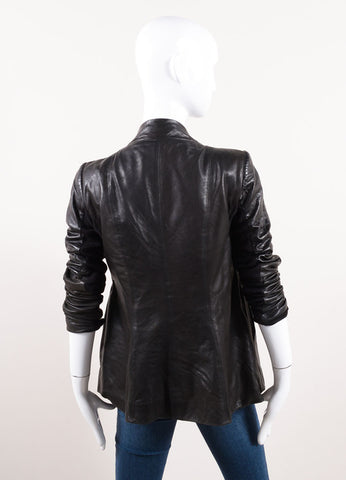 Rick Owens Black Leather Knit Trim Draped Ruched Long Sleeve Jacket Backview