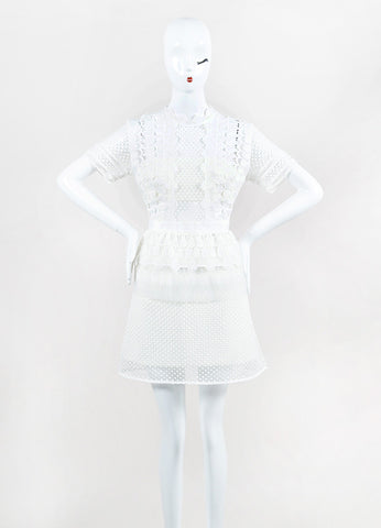 Self Portrait White Guipere Lace Peplum Short Sleeve Flare Dress Front