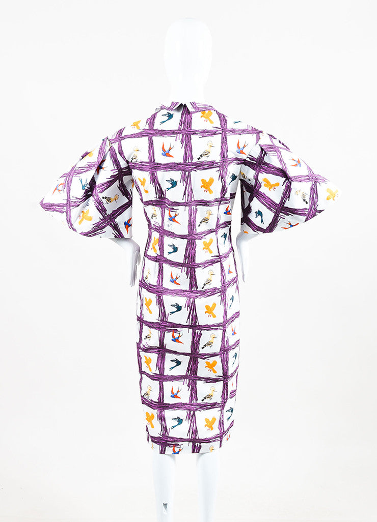 "Stella Jean Multicolor Bird Print ""Sommelier Chemisier"" Shirt Dress Back"