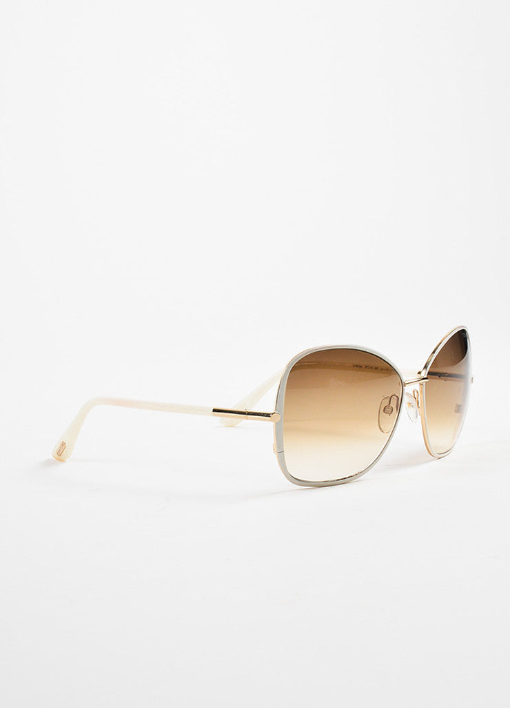 "White Tom Ford Gradient Lens ""Solange"" Square Frame Sunglasses Front"