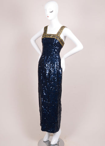Black Tie Oleg Cassini Navy and Gold Silk Sequin Sleeveless Dress Sideview