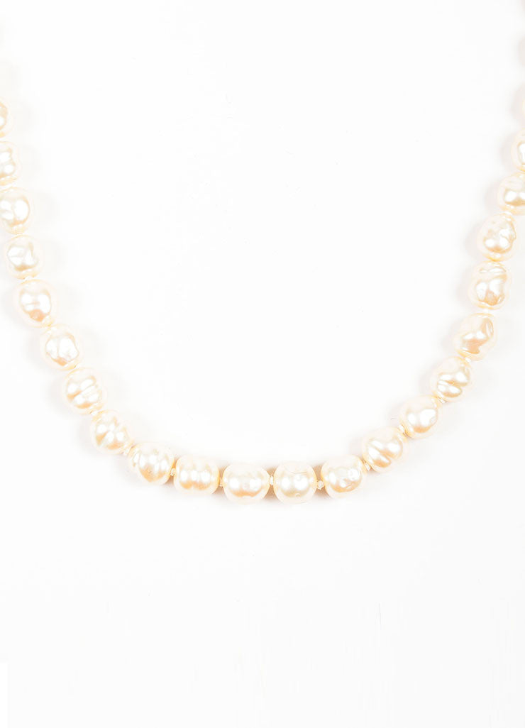 White Chanel Faux Freshwater Pearl Long Strand Necklace Front