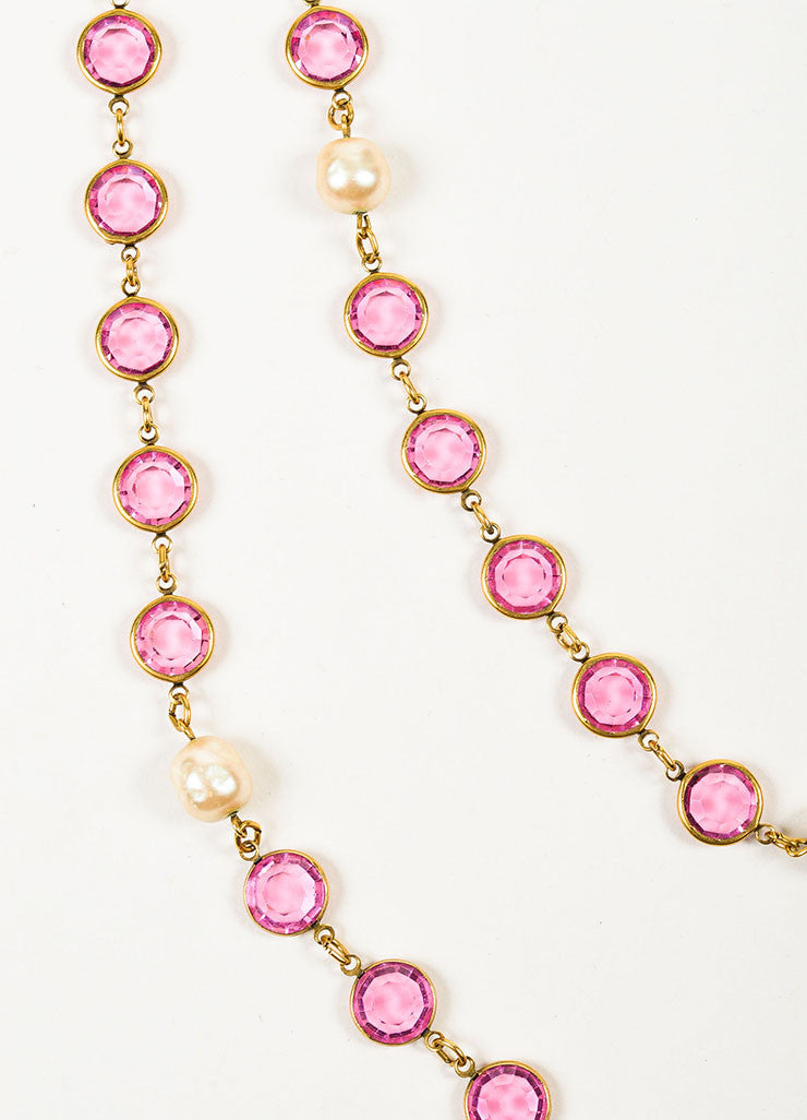Gold Toned and Pink Chanel Crystal Faux Pearl Long Single Strand Necklace Detail 2