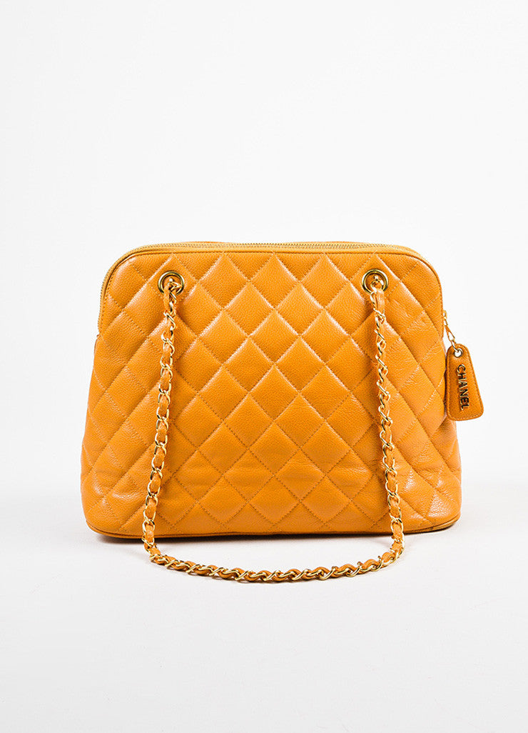 Chanel Orange Quilted Caviar Leather Shoulder Bag Frontview