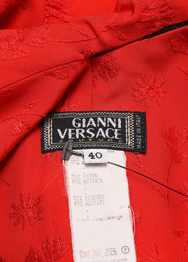 Gianni Versace Black and Red Floral Embroidered Asymmetrical Dress Brand