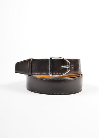 Men's Hermes Brown Leather Silver Buckle Belt Front