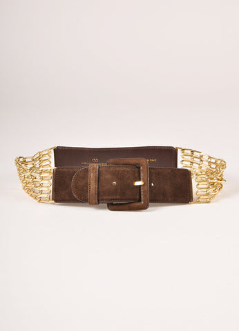 Valentino Brown Suede Gold Toned Chain Link Belt Frontview